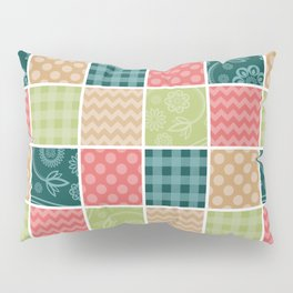 Zigzag, Polka Dots, Gingham - Green Red Blue Pillow Sham