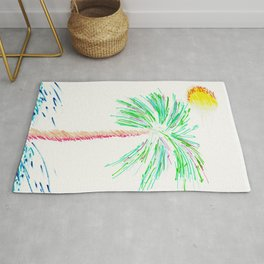"""Lonely Palm"" Mixed Media Sketch Rug"