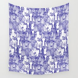just cattle blue white Wall Tapestry