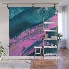 Wild [1]: a bold, vibrant abstract minimal piece in teal and neon pink Wall Mural