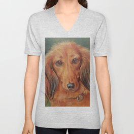 Teckel Dachshund Red Dog Cute Pet Portrait on green background Autumn colours Oil painting on canvas Unisex V-Neck