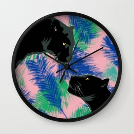 Panthers with palm leaves Wall Clock