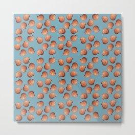 Light Blue Small Clams Illustration pattern Metal Print