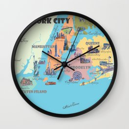 New York City Fine Art Print Retro Vintage Favorite Map with Touristic Highlights Wall Clock