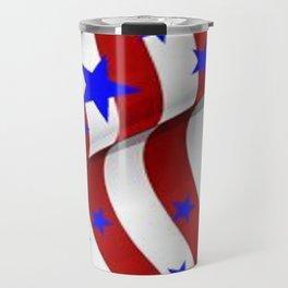 PATRIOTIC AMERICANA JULY 4TH BLUE STARS DECORATIVE ART Travel Mug