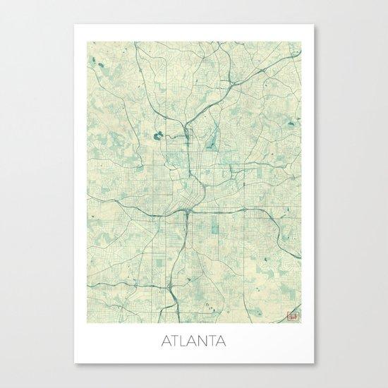 Atlanta Map Blue Vintage Canvas Print