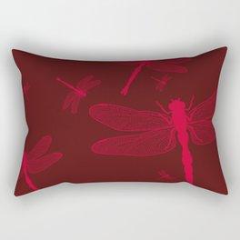 Five Red Dragonflies Rectangular Pillow