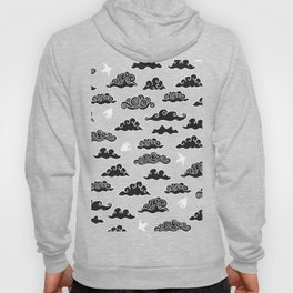 Black Doodle clouds and swallows. Cloudscape pattern with birds. Hoody