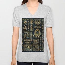 Ancient Egyptian Hieroglyph Sphinx Pyramid Unisex V-Neck