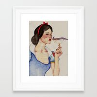 snow white Framed Art Prints featuring Snow White by The White Deer