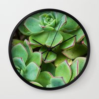 succulents Wall Clocks featuring Succulents by Michelle McConnell