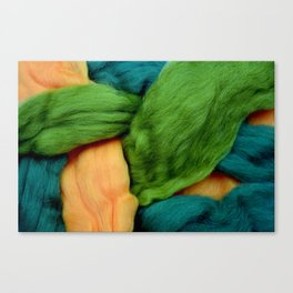 Felting Wool Abstract In Greens And Orange Canvas Print
