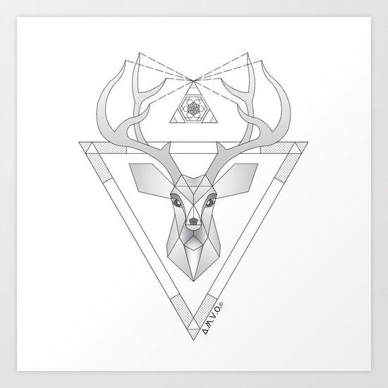 Geometric Deer Art Print
