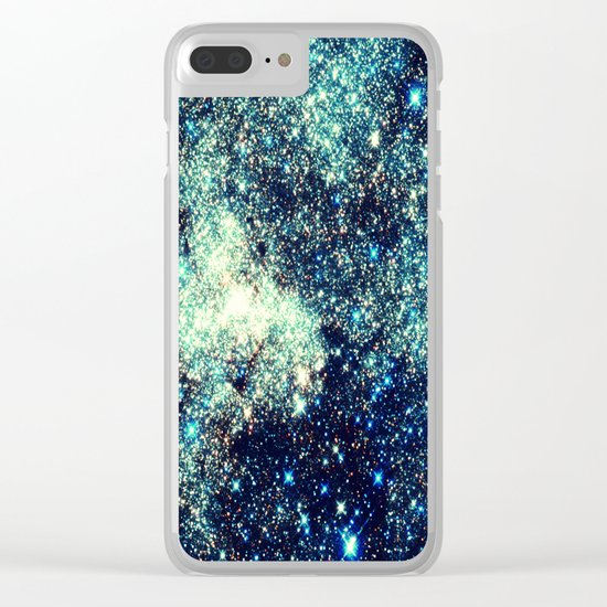 gAlAxY Stars Teal Turquoise Blue Clear iPhone Case