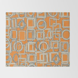 picture frames aplenty indigo tangerine Throw Blanket