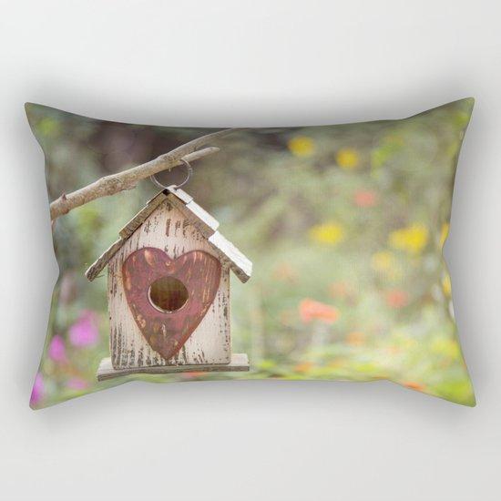 bird house in summer garden Rectangular Pillow