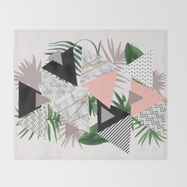 Abstract of geometric patterns with plants and marble Throw Blanket