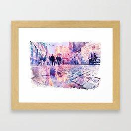 Dublin Watercolor Streetscape Framed Art Print