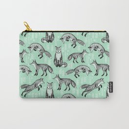 Fox pattern drawing foxes cute andrea lauren mint forest animals woodland nursery Carry-All Pouch