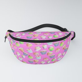 Hand Drawn Cupcakes on a Vivid Pink Background Fanny Pack