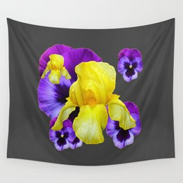 CHARCOAL GREY PURPLE PANSIES YELLOW IRIS ART Wall Tapestry