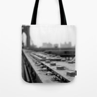 brooklyn bridge Tote Bags featuring Brooklyn Bridge by Alane Gianetti