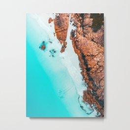 Teal Ocean Orange Rocks - Western Australia Metal Print