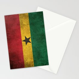 Old and Worn Distressed Vintage Flag of Ghana Stationery Cards