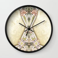 vintage floral Wall Clocks featuring Vintage Floral by Robin Curtiss