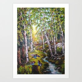 3 Birds In The Forest Art Print