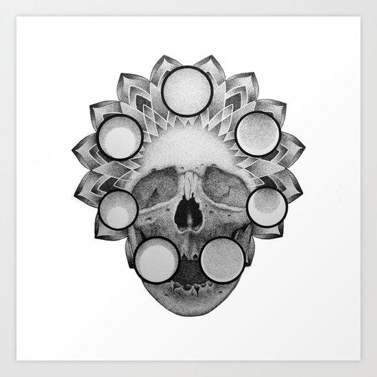 Dotwork Skull Mandala Art Print