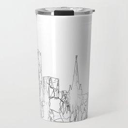 Birmingham, UK Skyline B&W - Thin Line Travel Mug