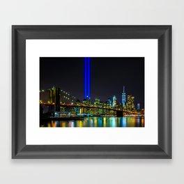 Tribute in Light and the Brooklyn Bridge, New York City Framed Art Print