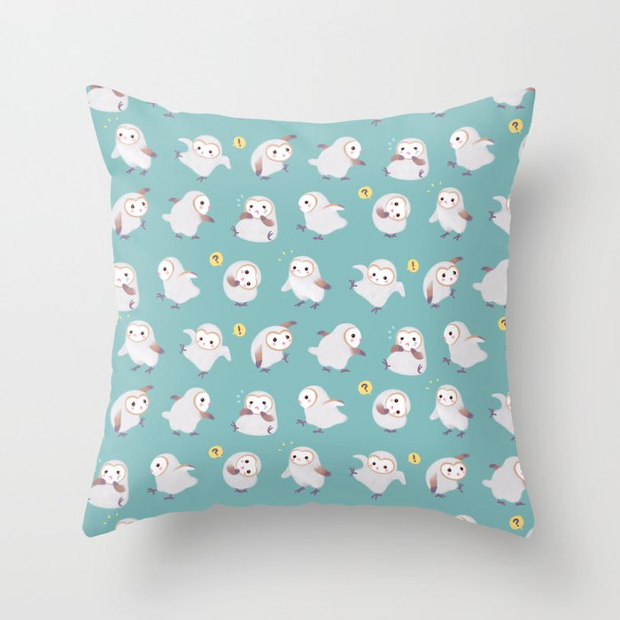 Baby Barn Owls Throw Pillow