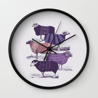 sheep Wall Clocks featuring Cool Sweaters by Jacques Maes
