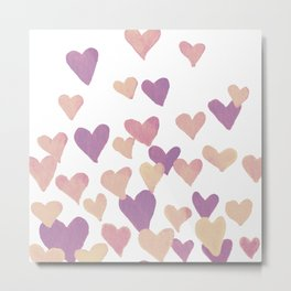 Valentine's Day Watercolor Hearts - pastel pink Metal Print