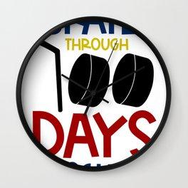 One Hundred Days of School Ice Hockey I Skated Through 100 Days of School Wall Clock