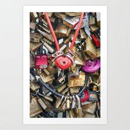 Red heart love lock in Paris | Noriko Aizawa Buckles Art Print