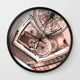 Abstract Perspective // Rose Gold Lighting Ornamental Chandelier Stairway View Wall Clock
