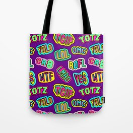Colorful design with word patches. Tote Bag