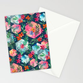 Whimsical Hexagon Garden on Blue Stationery Cards