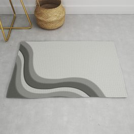 Pantone Pewter Gray Soothing Waves with Canvas Texture Rug