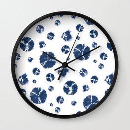 Shibori Polka Splotch Indigo Blue Wall Clock