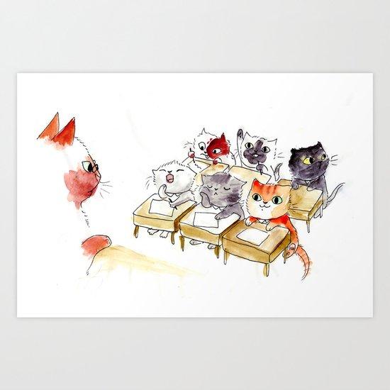 Kitten School Art Print