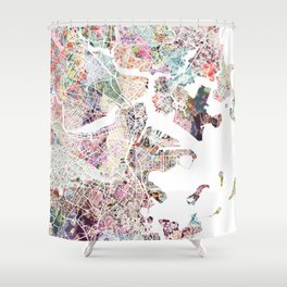 Boston map Shower Curtain