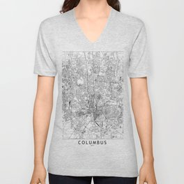 Columbus White Map Unisex V-Neck
