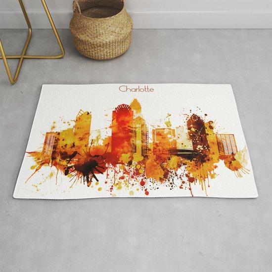 Charlotte, North Carolina Red Yellow Skyline by dimdom
