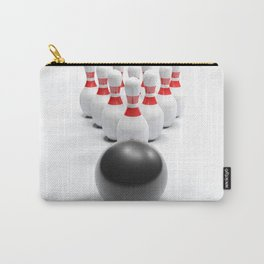 Bowling bow and pins on white surface - 3D rendering Carry-All Pouch