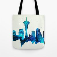 seattle Tote Bags featuring Seattle  by Talula Christian