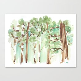 watercolor forest // aspen and other trees in spring Canvas Print